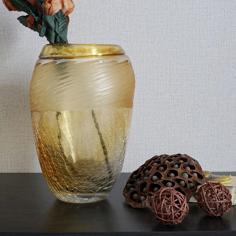Crackle Glass Vase Vases