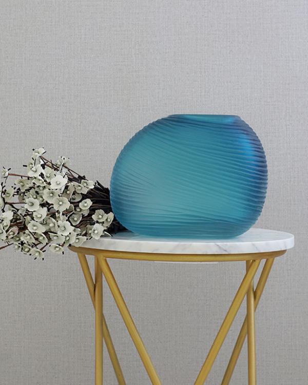 Blue Aqua Ripple Vase Vases