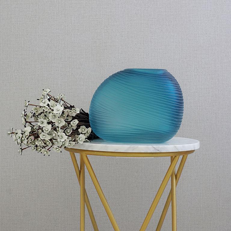buy Blue Aqua Ripple vase online, Home Decor Online, Buy Vases online, Luxury Decor Online at Beigeandwenge